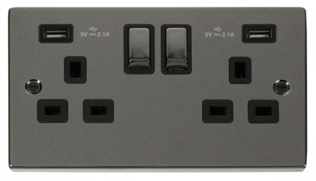 Click Deco Ingot Black Nickel 13a Double Socket With Twin 2.1A USB Outlets (4.2A) | VPBN580BK