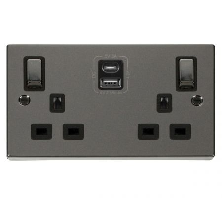 Click Deco Ingot Black Nickel 2G 13A Switched Socket & TYPE A & C USB | VPBN586BK