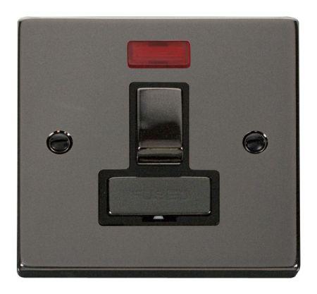 Click Deco Ingot Black Nickel 13A Switched Fused Spur C/W Neon Black Insert VPBN752BK