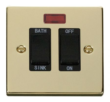 Click Deco Polished Brass 20A DP Sink & Bath Switch With Neon Black Insert VPBR024BK