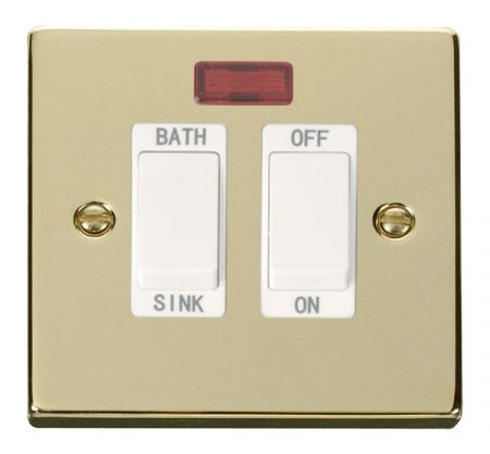 Click Deco Polished Brass 20A DP Sink & Bath Switch With Neon White Insert VPBR024WH