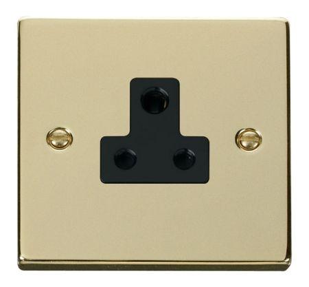 Click Deco Polished Brass 5A Round Pin Single Socket Black Insert VPBR038BK