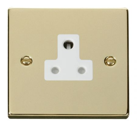 Click Deco Polished Brass 5A Round Pin Single Socket White Insert VPBR038WH