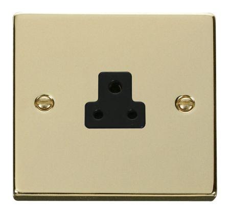 Click Deco Polished Brass 2A Round Pin Single Socket Black Insert VPBR039BK