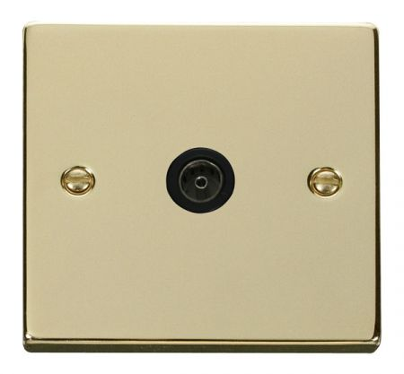 Click Deco Polished Brass Single Coaxial TV Socket Black Insert VPBR065BK
