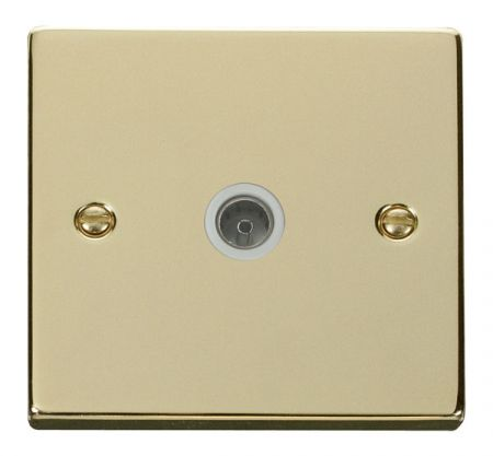 Click Deco Polished Brass Single Coaxial TV Socket White Insert VPBR065WH