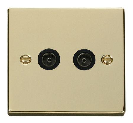 Click Deco Polished Brass Twin Coaxial TV Socket Black Insert VPBR066BK