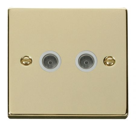 Click Deco Polished Brass Twin Coaxial TV Socket White Insert VPBR066WH