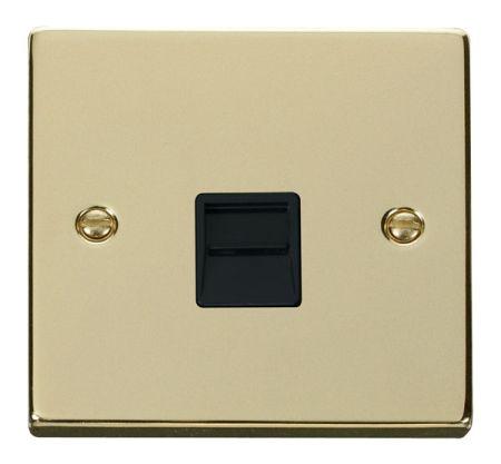 Click Deco Polished Brass Single Telephone Master Socket Black Insert VPBR120BK