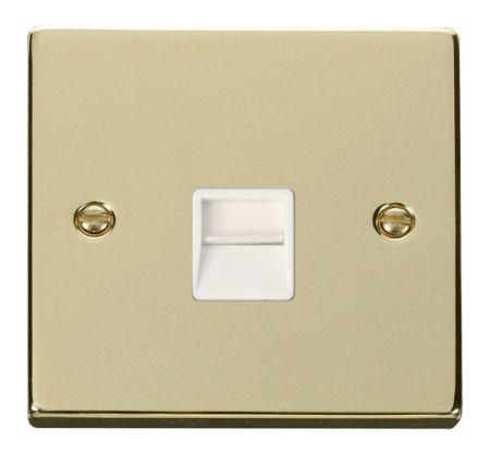 Click Deco Polished Brass Single Telephone Master Socket White Insert VPBR120WH