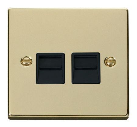 Click Deco Polished Brass Twin Telephone Master Socket Black Insert VPBR121BK
