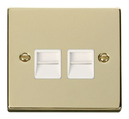 Click Deco Polished Brass Twin Telephone Master Socket White Insert VPBR121WH