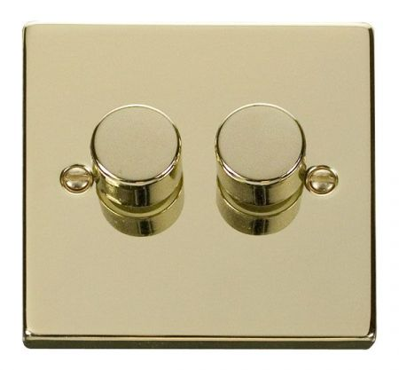 Click Deco Polished Brass 2 Gang 400w Dimmer Switch VPBR152