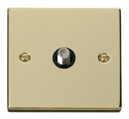 Click Deco Polished Brass Satellite Socket Black Insert VPBR156BK