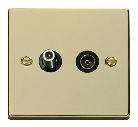 Click Deco Polished Brass Satellite and Coaxial Socket Black Insert VPBR157BK