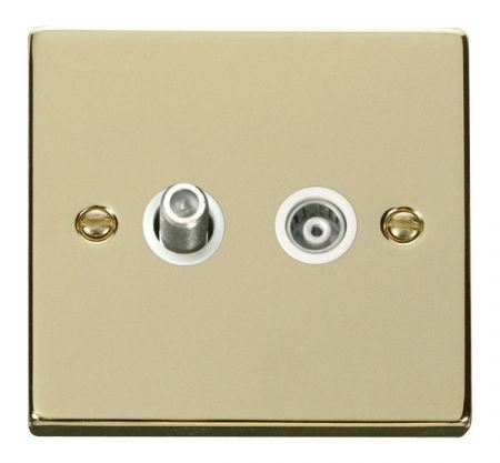Click Deco Polished Brass Satellite and Coaxial Socket White Insert VPBR157WH
