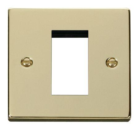 Click Deco Single Aperture Polished Brass Unfurnished New Media Plate VPBR310