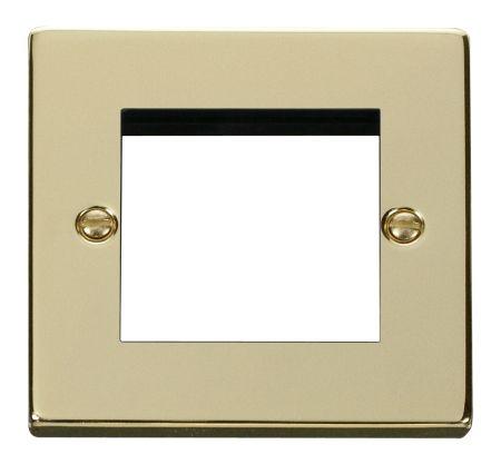 Click Deco Twin Aperture Polished Brass Unfurnished New Media Plate VPBR311