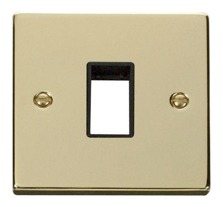 Click Deco Single Aperture Polished Brass Unfurnished Plate Black Insert VPBR401BK