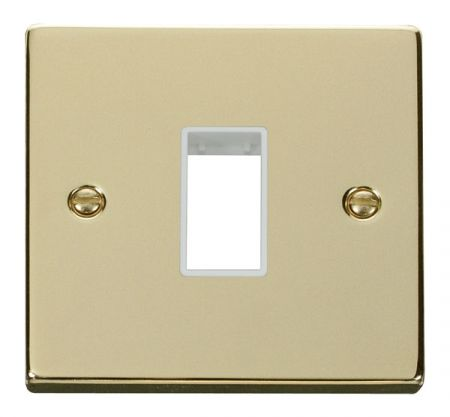 Click Deco Single Aperture Polished Brass Unfurnished Plate White Insert VPBR401WH