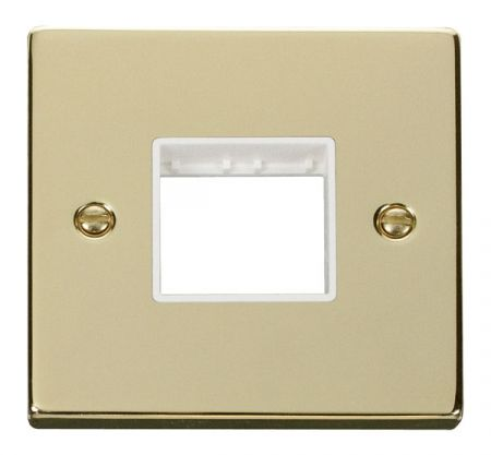 Click Deco Twin Aperture Polished Brass Unfurnished Plate White Insert VPBR402WH