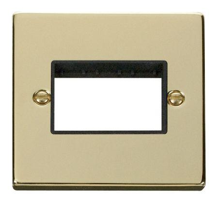 Click Deco Triple Switch Aperture Polished Brass Unfurnished Plate Black Insert VPBR403BK
