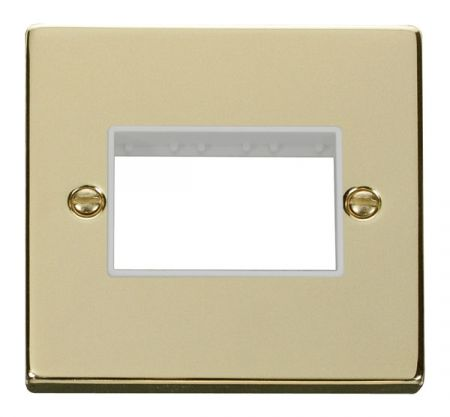 Click Deco Triple Switch Aperture Polished Brass Unfurnished Plate White Insert VPBR403WH
