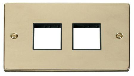 Click Deco (2+2) Switch Aperture Polished Brass Unfurnished Plate Black Insert VPBR404BK