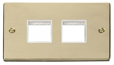 Click Deco (2+2) Switch Aperture Polished Brass Unfurnished Plate White Insert VPBR404WH