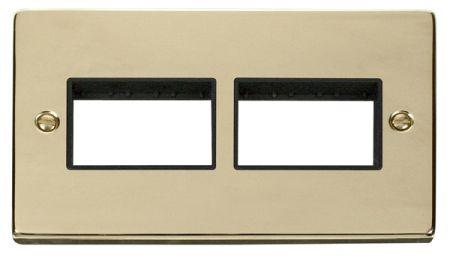 Click Deco (3+3) Switch Aperture Polished Brass Unfurnished Plate Black Insert VPBR406BK