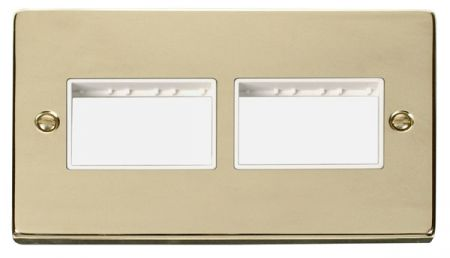 Click Deco (3+3) Switch Aperture Polished Brass Unfurnished Plate White Insert VPBR406WH