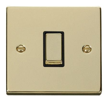 Click Deco Ingot Polished Brass 1 Gang Light Switch Black Insert VPBR411BK