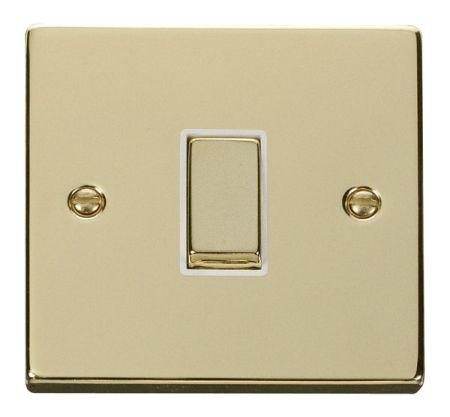 Click Deco Ingot Polished Brass 1 Gang Light Switch White Insert VPBR411WH