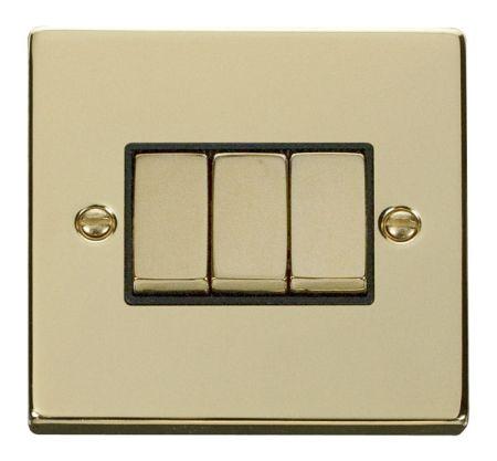 Click Deco Ingot Polished Brass 3 Gang Light Switch Black Insert VPBR413BK