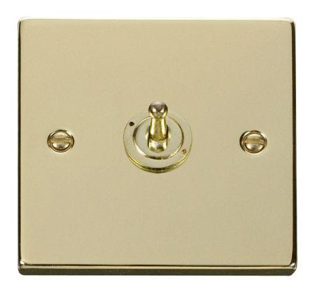 Click Deco Polished Brass 1 Gang 10A Toggle Switch VPBR421