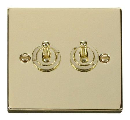 Click Deco Polished Brass 2 Gang 10A Toggle Switch VPBR422