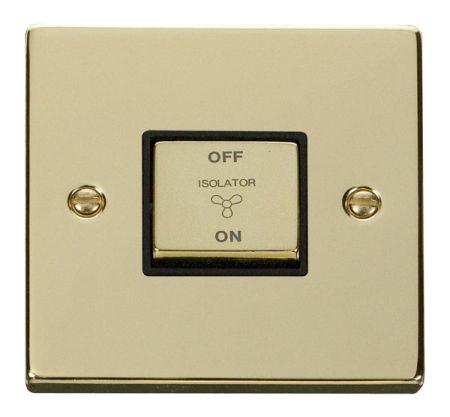 Click Deco Ingot Polished Brass 3 Pole Fan Isolation Switch Black Insert VPBR520BK