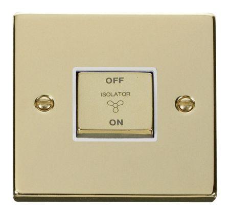 Click Deco Ingot Polished Brass 3 Pole Fan Isolation Switch White Insert VPBR520WH