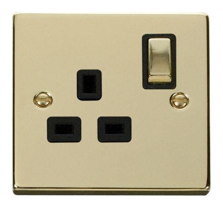 Click Deco Ingot Polished Brass 13A Single Socket Black Insert VPBR535BK