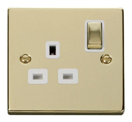 Click Deco Ingot Polished Brass 13A Single Socket White Insert VPBR535WH