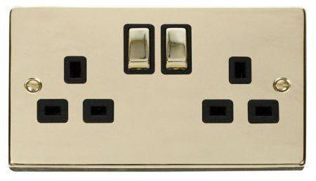 Click Deco Ingot Polished Brass 13A Double Socket Black Insert VPBR536BK