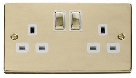 Click Deco Ingot Polished Brass 13A Double Socket white Insert VPBR536WH
