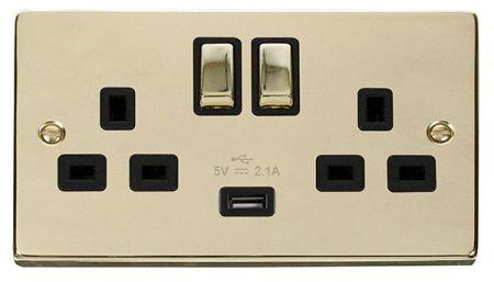 Click Deco Ingot Polished Brass 13a Double Socket With USB Black Insert VPBR570BK