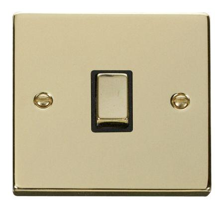 Click Deco Ingot Polished Brass 20a DP Switch Black Insert VPBR722BK