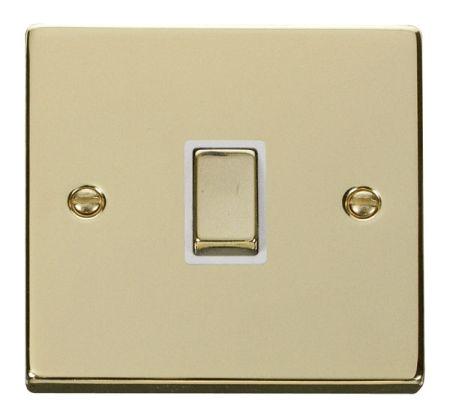 Click Deco Ingot Polished Brass 20a DP Switch White Insert VPBR722WH
