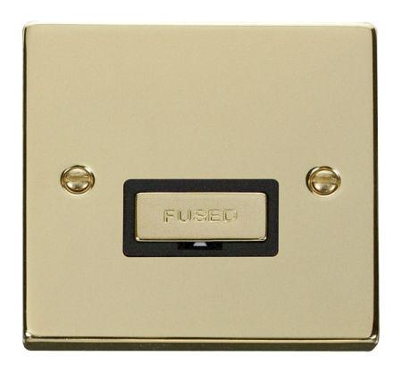 Click Deco Ingot Polished Brass Unswitched Fused Spur Black Insert VPBR750BK