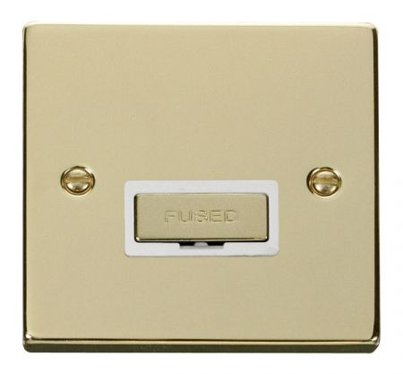Click Deco Ingot Polished Brass Unswitched Fused Spur White Insert VPBR750WH