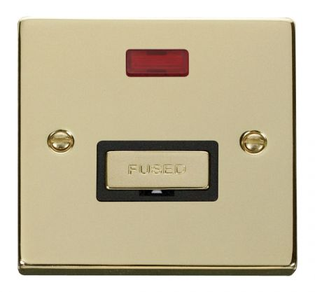 Click Deco Ingot Polished Brass Unswitched Fused Spur C/W Neon Black Insert VPBR753BK