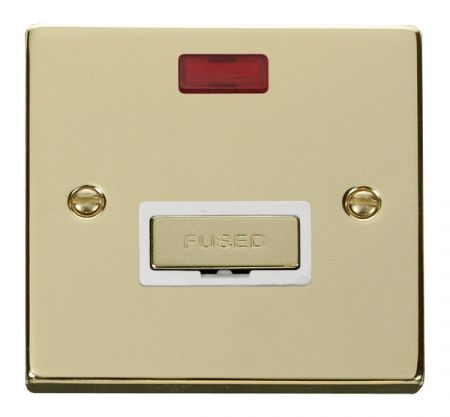 Click Deco Ingot Polished Brass Unswitched Fused Spur C/W Neon White Insert VPBR753WH