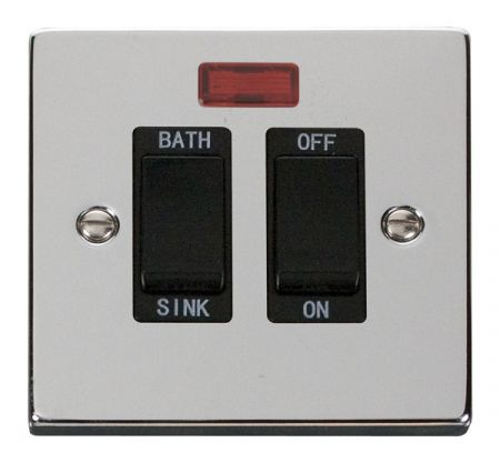Click Deco Polished Chrome 20A DP Sink & Bath Switch With Neon Black Insert VPCH024BK